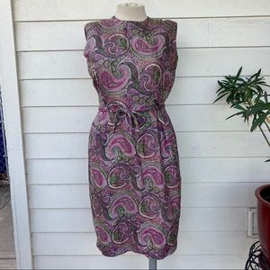 Vintage 60s Silk Paisley Shift Dress 70s Belted Mad Men Mod Sexy Purple Knee